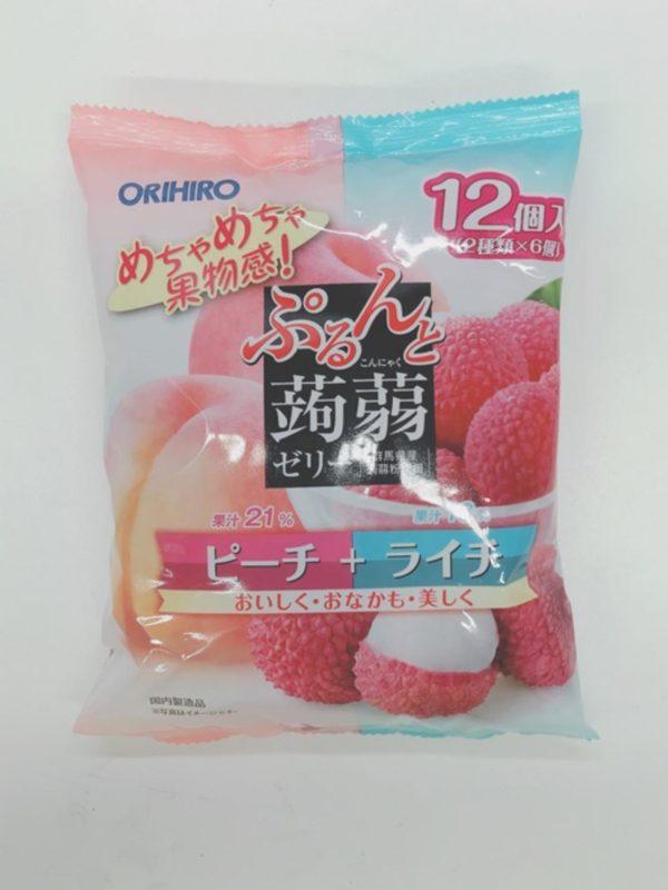 ORIHIRO Konjac jelly (Peach + Lychee)20gx12P